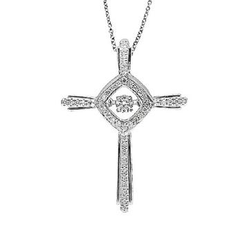 Collar de plata de los colgantes del diamante del baile de la cruz 925 de la joyería de la manera
