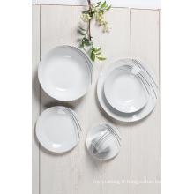 Service de service de vaisselle de 20pc pour 4 plats de décalque rond de porcelaine