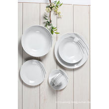 20pc Dinnerware Set Service for 4 Porcelain Round Decal Dishes