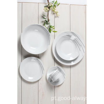 20pc Dinnerware Set Service para 4 pratos de decalques redondos de porcelana
