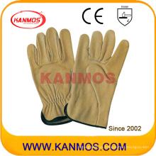 Guantes de trabajo del conductor del cuero del grano del cuero industrial de la seguridad (12203)
