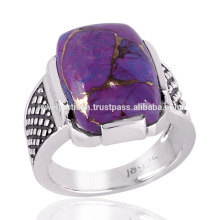 Натуральный фиолетовый mohave бирюзовый прямоугольный камень стерлингового серебра 925 мужчины кольцо