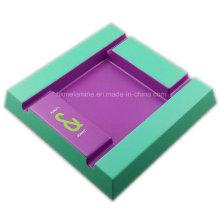 Cinzeiro quadrado de melamina bicolor com logotipo
