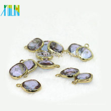 AAA quality 12*12mm square shape cut faceted lavender purple crystal charms pendant for necklace pendant
