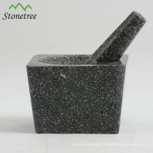 5.1 '' Mortier et pilon de granit pour moulins à herbes et à épices / à herbes / Ustensiles de cuisine