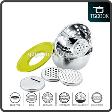 6 PCS Set New Stainless Steel Fruit Basket, Food Containers With 3 Size Slicers