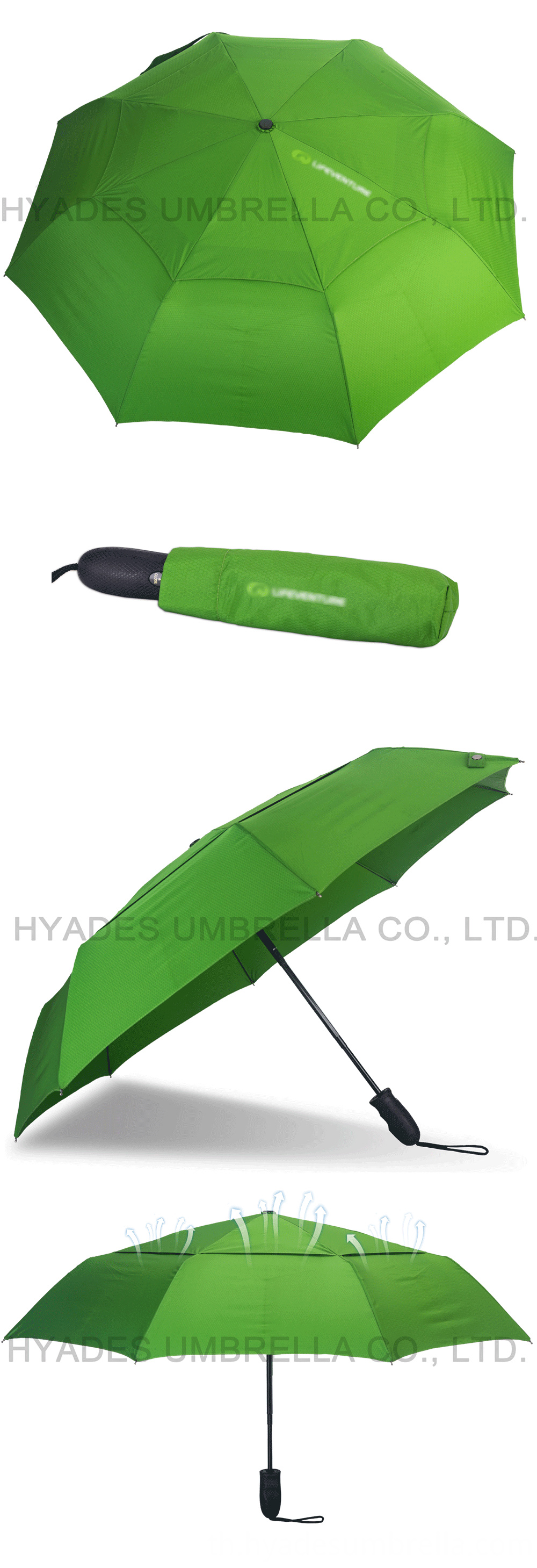 Auto Ope And Close Folding Umbrella Green Color