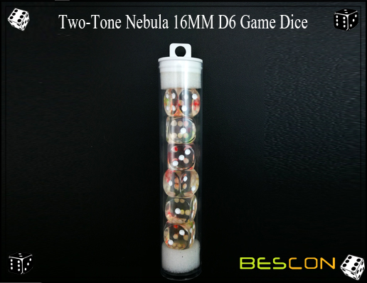 Two-Tone Nebula 16MM D6 Game Dice-6
