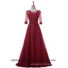 Frauen A-Linie Spitze Abendkleid mit halben Ärmel