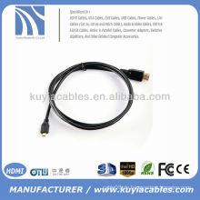 5FT (1.5M) Mikro-HDMI zu HDMI Kabel-Mann zum männlichen Digital A / V für Motorola / Sony Ericsson Fuji F85EXR