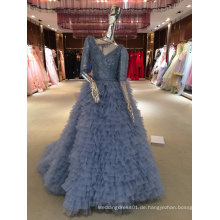 Meerjungfrau Real Muster Hochwertiges blaues Hochzeitskleid