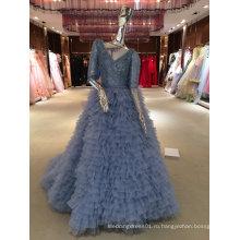 Русалка Реальный Образец Высокое Качество Синий Свадебное Платье