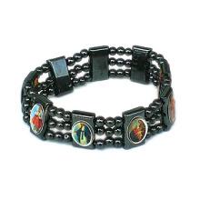 Vente en gros de perles religieuses en hématite avec le bracelet Saint Photo Rosary