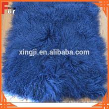 Pele real do cordeiro de Tibet, cor azul Placa da pele do cordeiro