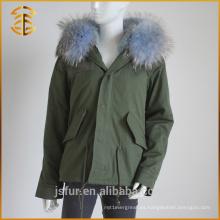 Nuevo estilo barato barato Hood Hoody invierno de pieles de mapache Parka