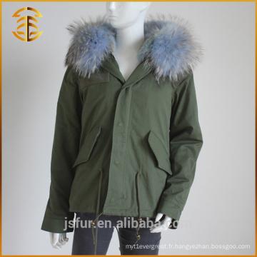Chaussures d'hiver à capuchon d'hiver à capuchon de style nouveau style Raccoon Fur Parka