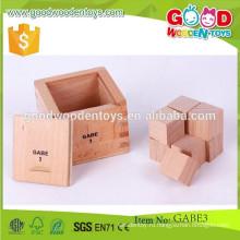 Горячие игрушки детей сбывания 7 * 7 * 6.8cm размер gabe игрушки OEM естественный деревянный разделенный куб