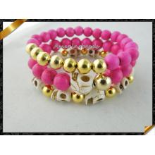 Rojo turquesa pulseras, cráneo de turquesa perlas joyas conjunto pulsera (CB066)