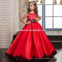 2017 nuevo vestido de la muchacha del modelo vestido de noche rojo clásico del satén del desgaste vestido de la muchacha de 2 años