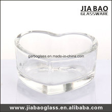 Clear Glass Candle Holder with Heart Shape