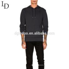 Venda quente outono preto fino mens pullover hoodie com bolso e moletom com capuz