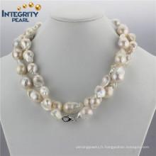 Collier de perles de culture d'eau douce Collier de perles barométales baroques AA 15mm AA