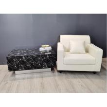 Black Marble Glass MDF Coffee Table