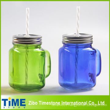 Color Sprayed Mason Jar with Straw