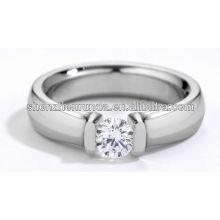 Acero inoxidable moda anillo dedo diamante piedra ca anillos para mujeres y hombres