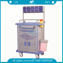 AG-AT001A3 Therapy with drawers storage hospital ABS anaesthesia cart with drawer