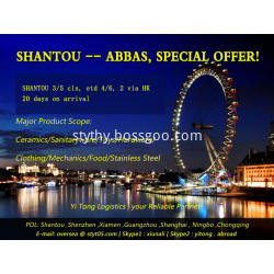 Shantou Sea Freight to Bandar Abbas