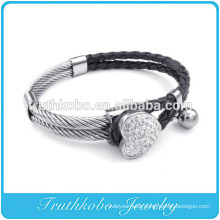 Fashion Womens Leather Bracelet Heart Rhinetone Cuff Stainless Steel Charm Fourleaf Clover Crystal Bangle