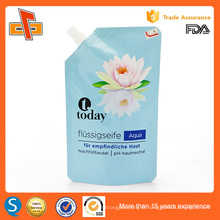 Eco friendly reusable stand up laminated plastic spout bag for liquid soap 400ml