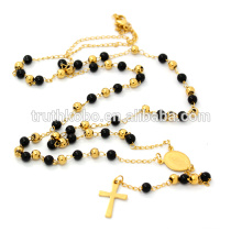 Simple Black Gold Beads Rosary Necklace Stainless Steel Catholic Rosary for Women