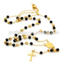 Простой черный золото бусины четки из нержавеющей стали ожерелье католическая Розария для женщин