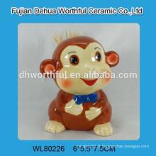 Support de cure-dents en céramique avec sourire avec design de singe