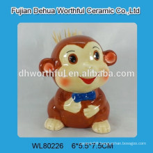 Ceramic toothpick holder with smiling with monkey design