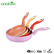 Curved Handle Color Nonstick Coating Fry Pan