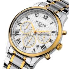 Acero inoxidable deporte hombres de negocios reloj de pulsera