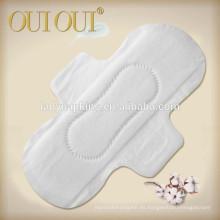 Almohadillas sanitarias respirables del algodón natural para las mujeres de la fábrica de China