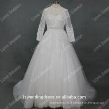 RP0165 Vestido de noiva de vestido de noiva de manga comprida com gola de noiva / vestido de casamento alibaba 2016 renda com pérolas longo vestido de casamento muçulmano