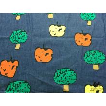100% algodão cor impressa denim (árvore)