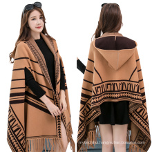 Latest 2017 Fashion Women Plaid Winter poncho wrap wholesale hooded viscose pashmina shawl