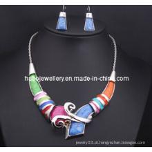 Conjunto de jóias de pedra colorido quadrado (xjw13211)