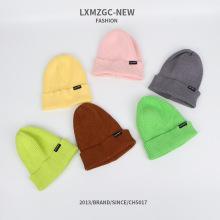 Bonnet tricoté de couleur bonbon pour enfants, chapeau de laine adulte