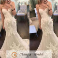 Vintage Sexy Mermaid Wedding Dress Sleeveless Applique Lace Tulle Bridal Gown 2017