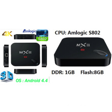 Smart Android TV Box with Amlogic S802, 1GB, 8GB Quad Core, Dts, Dolby, 4k Video, 3D Google Android 4.4 Internet Ott TV Box Set Top Box Model: Mxiii