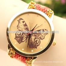 Mode à la main Braided Lady Quartz Thread Butterfly Regarder Montre Bracelet Genève