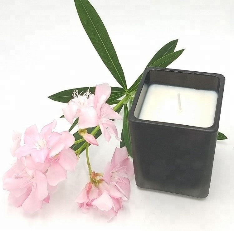 Natural Soy Wax Scented Black Square Glass 1