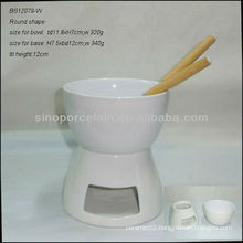 White Round Ceramic Cheese Fondue Set With Forks For BS12079W